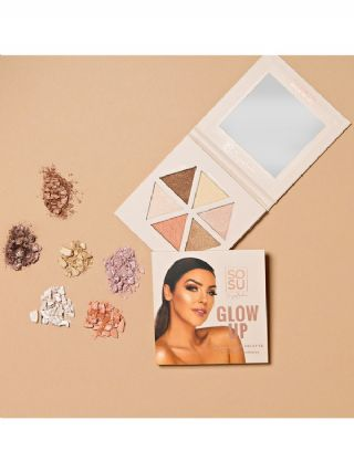 Glow Up Highlighter Palette & 4 Detail Brush Collection